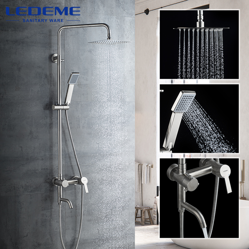 LEDEME Shower Faucet Bathroom Rainfall Bath Shower Cabin Mixers Swivel Bath Spout Waterfall Stainless Steel Tap Faucets L72401