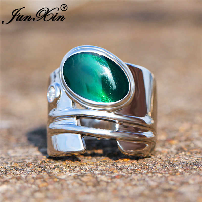 Unique Geometric Blue Green Stone Rings For Men Women Oval Big Wedding Bands Male Engagement Ring Silver Vintage Party Jewelry