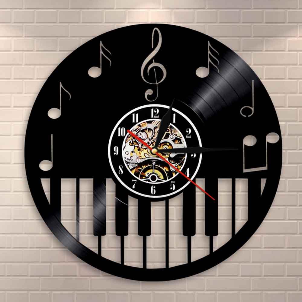 Piano Keyboard Home Decor Vinyl Record Wall Clock Sheet Music Piano Treble Clef Notes Decorative Vinyl Clock Musicians Art Gift