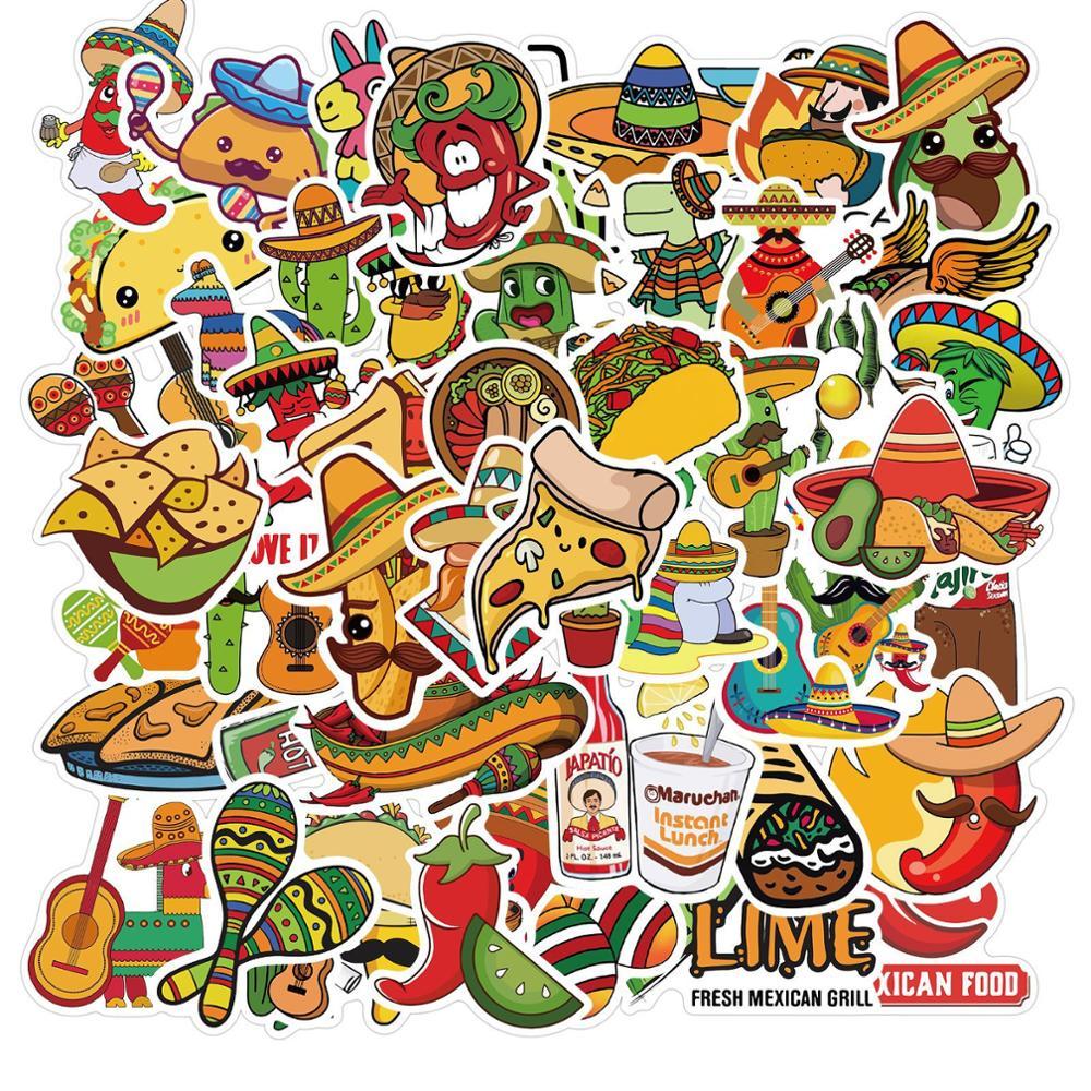 Pegatinas de vinilo de estilo mexicano para comida 50 Uds., calcomanía de rollo de pollo, Pizza, guitarra de dibujos animados, para DIY, portátil, equipaje para motocicleta, nevera