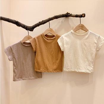 MILANCEL koszulki dziecięce solidne dziecięce koszulki dla chłopców koszulki z krótkim rękawem koszulki dla dzieci solidne koszulki dla niemowląt tanie i dobre opinie Moda COTTON Pasuje prawda na wymiar weź swój normalny rozmiar Stałe O-neck Topy Tees Unisex beige brown and yellow brown