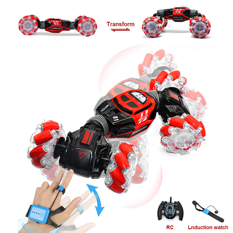 4WD RC Stunt Car Watch Control Gesture Induction Deformable Electric RC Drift Car Transformer Cool Toys With LED Light