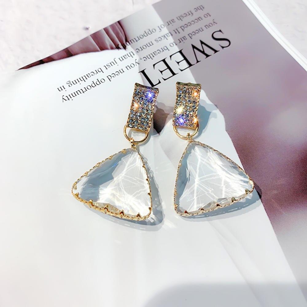 Корейские новые дизайнерские модные украшения, геометрические Висячие серьги, женские роскошные прозрачные вечерние серьги с кристаллами,...