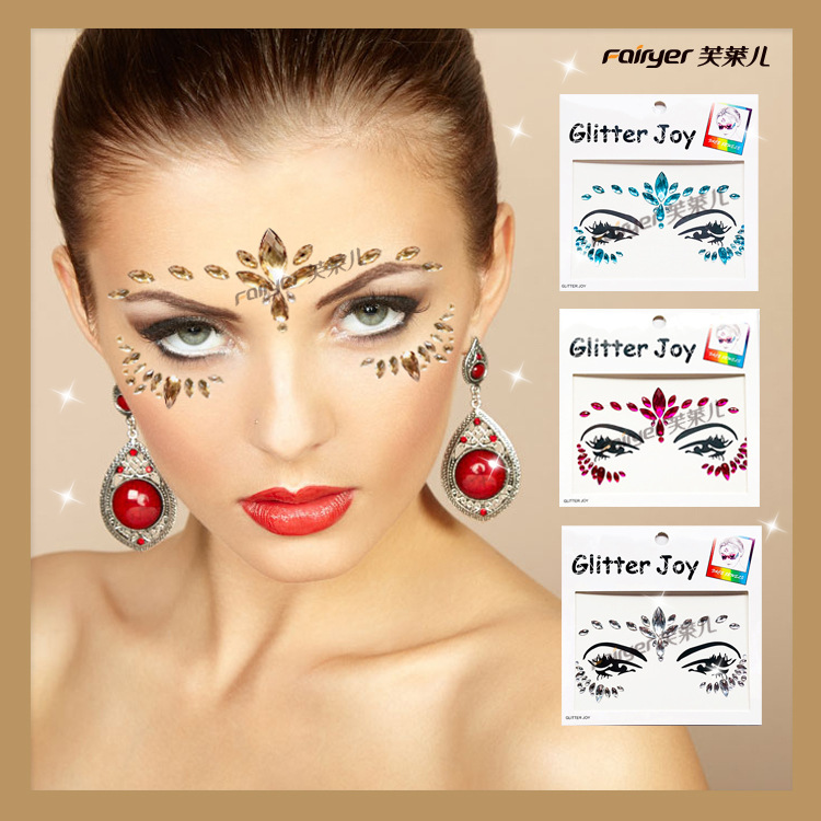 Super Shiny Facial Part Stick-on Crystals Halloween Tattoo Sticker Europe And America EDM Festival Hot Selling Eye Makeup Eyebro