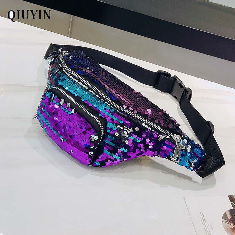 Qiuyin Luxury Designer Reversible Sequin Bag Women's Waist Bag Cross Body Fanny Pack Korean Glitter Purse Chest Zipper Pouch Bum