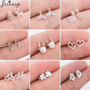 Bohemian Fashion Simple Stud Earrings Geometric Fish Heart Ghost Puzzle Earrings for Women Girls Kids Jewelry Pendientes Gifts