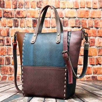 Ladies Shopping Bag Female Bucket Casual Tote Bag Messenger Top Handle Bags Women Shoulder Crossbody Genuine Leather Handbag