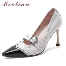 Meotina Mary Janes Women Shoes Real Leather Super High Heel Pumps Pointed Toe Thin Heels Buckle Shoes Lady Summer White Size 43 mixed color polka dot mesh upper girl nude shoes square toe black suede buckle mary janes shoes middle chunky heel shoes women