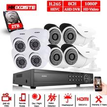 Home Security CCTV Kamera System Überwachung Kit 8 Kanal CCTV HVR NVR AHD DVR 8 stücke 1080P 2.0MP innen outdoor weiß Kamera