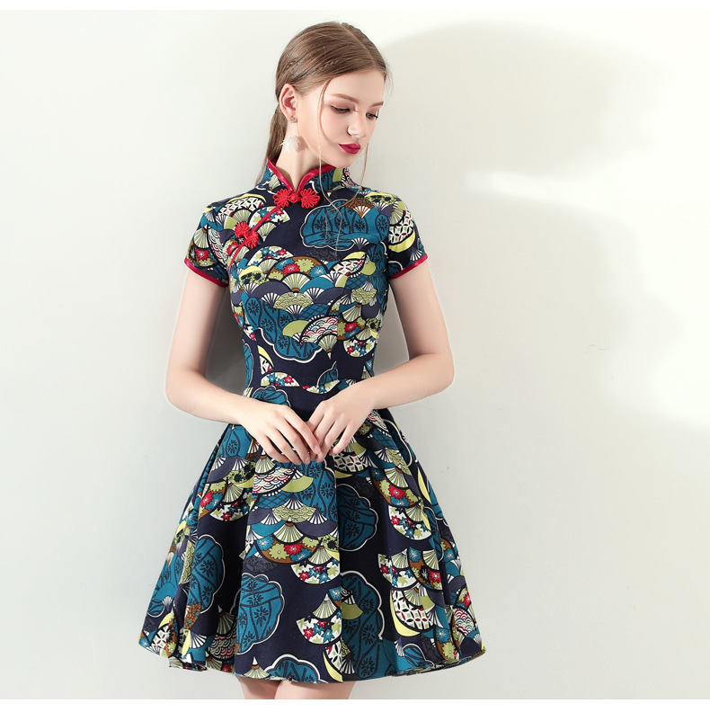 Improved Cheongsam 2019 Summer New Style Daily Life Short Retro Dress GIRL'S Fresh Banquet Evening Dress Floral-Print