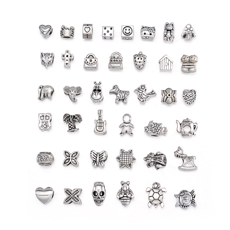 Купить 40 шт/компл антикварные серебряные бусины серии животных круглые