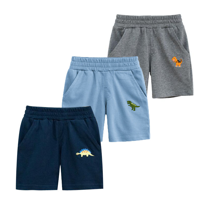 Summer New Children's Clothes Baby Boy Short Pants Pure Cotton Cartoon Dinosaur Elastic Pockets Pants Casual Kids Trousers