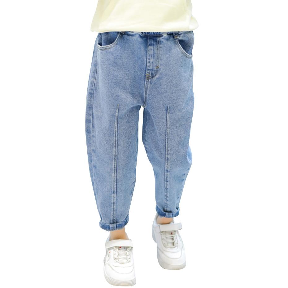 Джинсы однотонные для девочек, джинсы с эластичным поясом для детей, Повседневная стильная одежда для девочек 6, 8, 10, 12, 14|Джинсы| | АлиЭкспресс