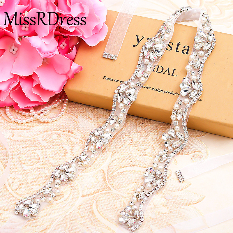 MissRDress Pearls Bridal Belt Silver Crystal Wedding Belt Thin Rhinestones Wedding Dress Sash For Bridal Accessories JK810
