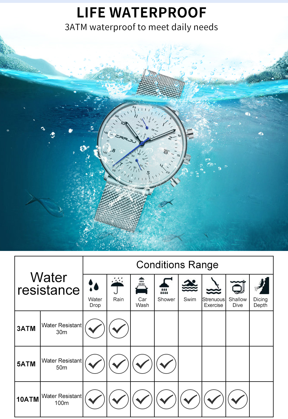 Mens Watch CRRJU Luxury Top Brand Men Stainless Steel WristWatch Men's Military waterproof Date Quartz watches relogio masculino H39df632d037d4033a1c31eeecb1c1f8au