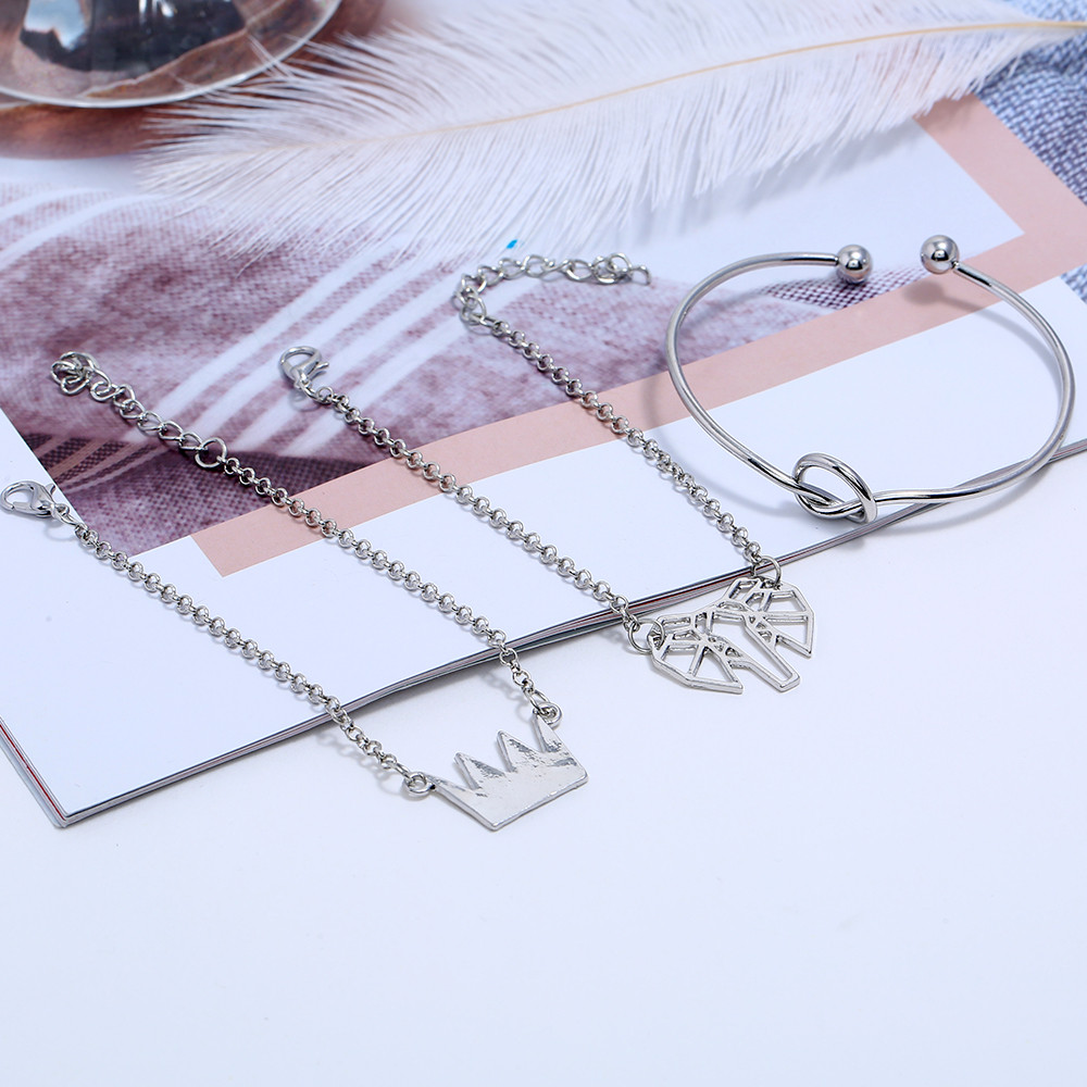 Bohemian Link Chain Bracelet Set For Women Fashion Silver Color Crown Knot Hand Cuff Charm Bracelets Bangles Jewelry 3 Pcs Set in Charm Bracelets from Jewelry Accessories