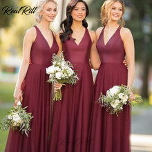 Real Rill Deep V Neck Halter Bridesmaid Dresses Chiffon A Line Long Wedding Guest Dress For Party
