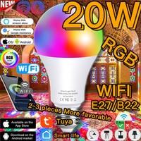 Bombilla LED inteligente de color, lámpara de neón con WiFi, E27, Siri, Control de voz, asistente de Google Alexa, aplicación remota Magic Hue, RGB, blanco