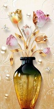 Κάδρο diamond painting με σχέδιο βάζο με ιδιαίτερες λεπτομέρειες φύλλων και λουλουδιών.