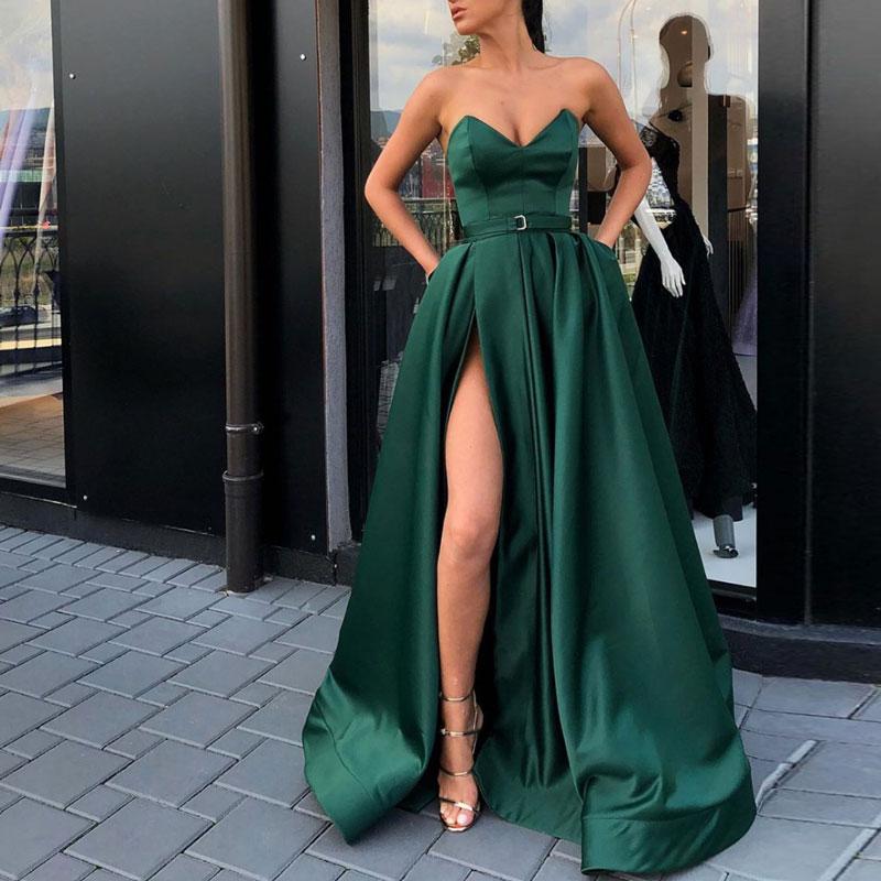 Evening Dress Satin Robe De Soiree Dark Green Long Gown V Neck Formal Abiye Gece Elbisesi Back Lacing