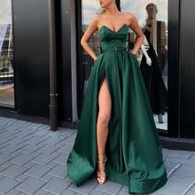 Abiye saten Robe De Soiree koyu yeşil uzun elbise v yaka resmi Abiye Gece Elbisesi geri Lacing