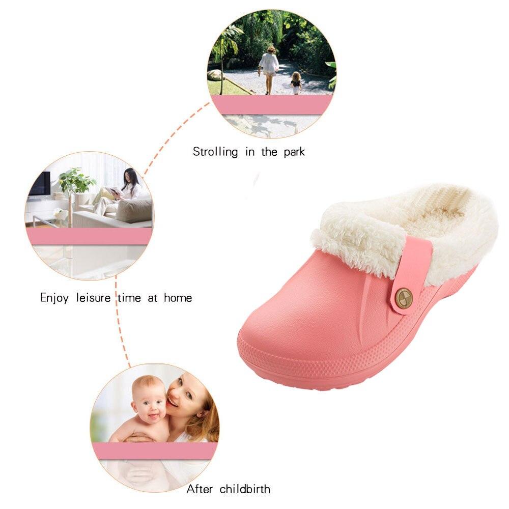 H39dfbedc2c5c419fa7982942fee5459bE Pantufa chinelos masculinos de couro, de alta qualidade, de pu, para inverno, de pelúcia, curto, salto plano, quente, para área interna