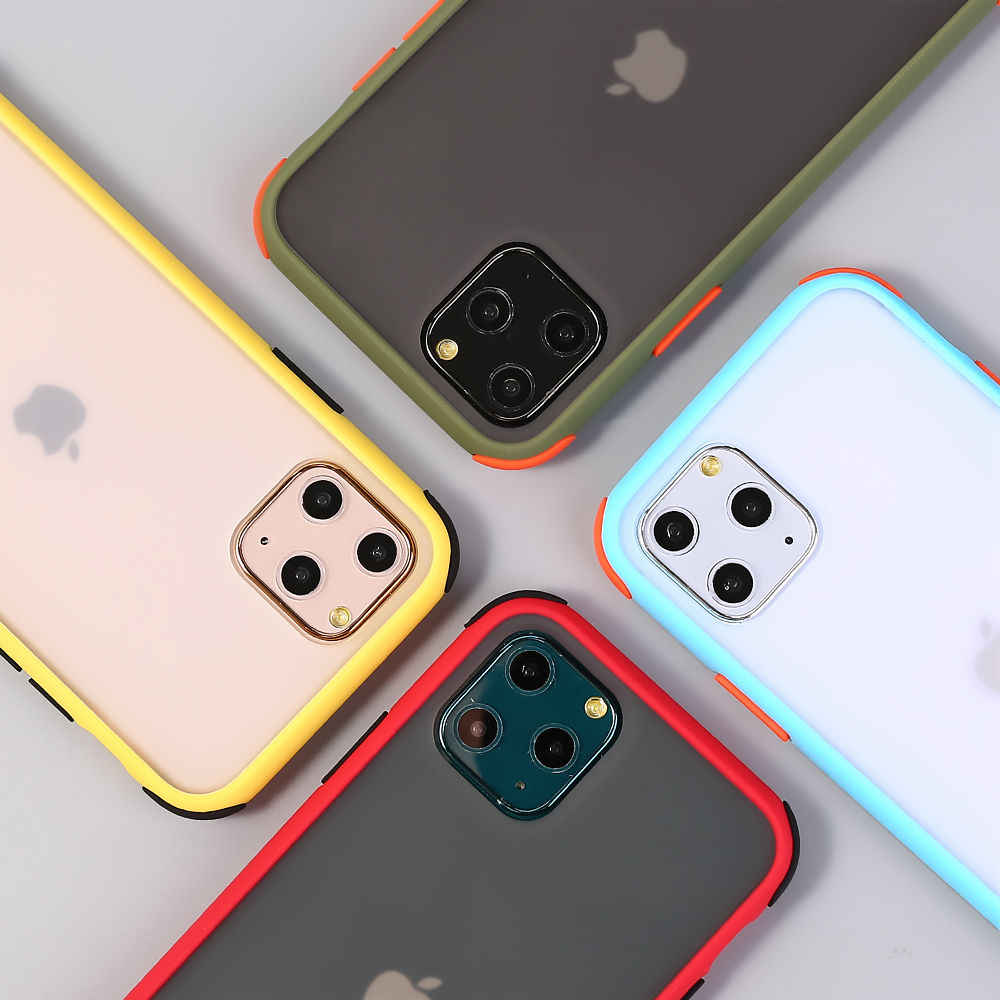 Transparent Matte Phone Cases For iPhone 11 XS  XS Max X 6 6S 7 8 Plus Contrast Color Clear Hard Shockproof Phone Back Cover
