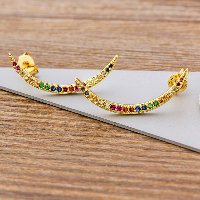 Minimalist Gold Color Copper Micro Paved Rainbow CZ Curve Bar Stick Crystal Stud Earrings For Women.jpg 640x640 - Minimalist Gold Color Copper Micro Paved Rainbow CZ Curve Bar Stick Crystal Stud Earrings For Women Wedding Party Zircon Jewelry