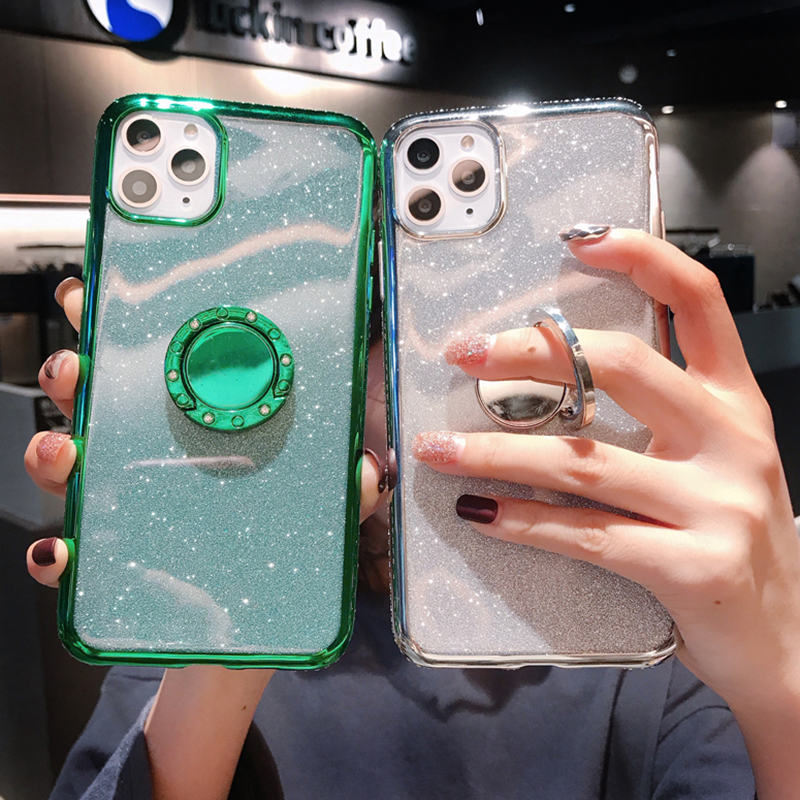 LOVECOM Glitter Phone Case For IPhone 11 Pro Max XR XS Max 7 8 6 6S Plus X Soft TPU Electroplated Ring Holder Back Cover Paster