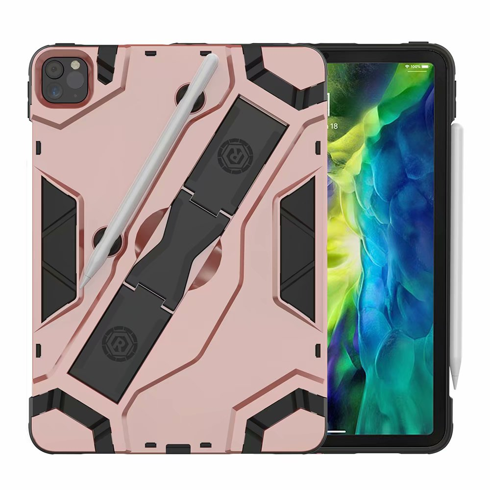 Rose Gold Pink Shockproof Armor TPU PC Portable Hand Strap Stand Tablet Cover For Apple iPad Pro 11 inch
