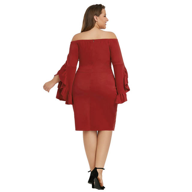 US $28.41 45% OFF|Off The Shoulder Vestidos De Gala Prom Gowns 2019 Long  Sleeve Ruffles Plus Size Short Prom Dresses Tight Women Party Night T035 on  ...