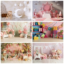 Laeacco Birthday Baby Shower Newborn Photophone Moon Stars Clouds Flowers Candy Child Portrait Photography Backdrops Backgrounds