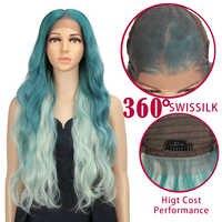 Peluca con malla frontal para mujer peluca largo ondulado degradado de 28