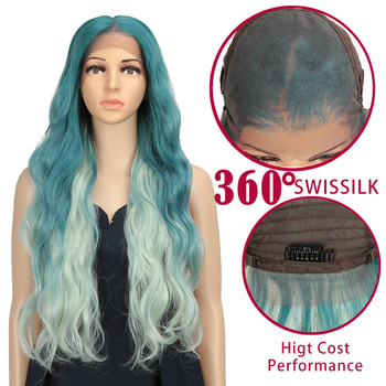 360 Lace Front Wig 28 Long Wavy Ombre Lace Front Wig Black Women Natural Hairline Heat Resistant Synthetic Hair Wigs For Women 26 inch natural long wave synthetic wig front lace fluffy wavy wig heat safe wigs black gray