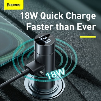 Baseus FM Transmitter Bluetooth Car Handsfree Audio Receiver 18W 2 USB Fast Charger Aux MP3