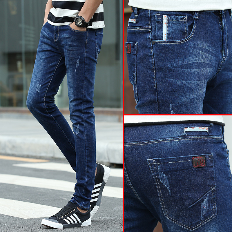 2019 Autumn And Winter New Style Korean-style Trend Elasticity Slim Fit Pants MEN'S Jeans Men Long Pants