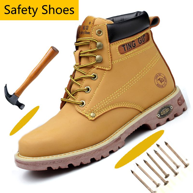 Anti-smashing Men Steel Toe Work Safety Shoes Ankle-high Safety Shoes for Men Comfortable Protective Winter Boots Anti-Puncture