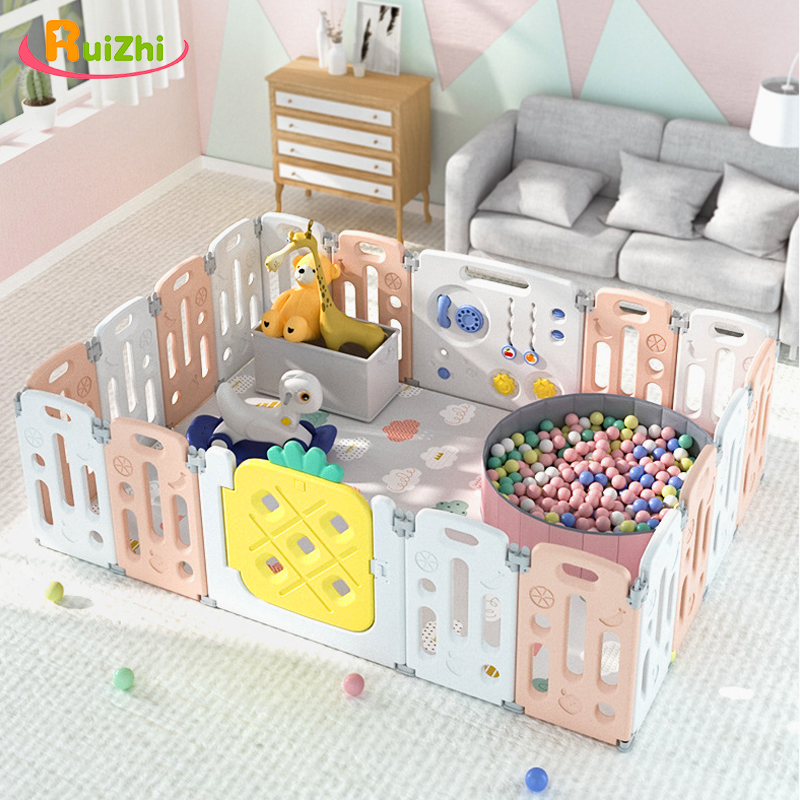 Ruizhi Baby Fruit Theme Safety Fence Newborn Plastic Playpen Indoor Playground Ocean Ball Pool With Educational Game RZ1237