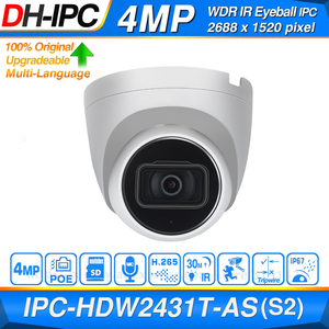 Image 1 - Dahua Originele IPC HDW2431T AS 4MP Hd Poe Ingebouwde Microfoon Sd kaartsleuf H.265 IP67 30M Ir Starlight Ivs Upgradeable dome Ip Camera