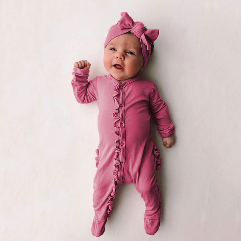 2020 New Spring Solid Ruffle Little Brother Cute Romper Baby Girl Clothes Baby Boy Clothes Babygirl Onesie New Born Baby Clothes