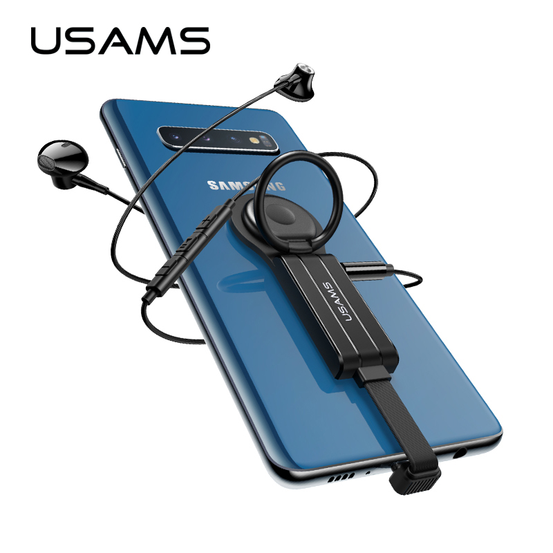 USAMS Type C 3.5mm Aux Adapter Type-c OTG Audio Adapter For Samsung S10 S9 USB C To Type C Dual QC PD 3.0 Fast Charging Adapter