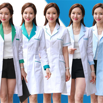 11Style Lab Uniform for Women Uniforms Work Wear Pharmacy White Coat Costume Female Spa Beauty Salon Long Jacket Gown