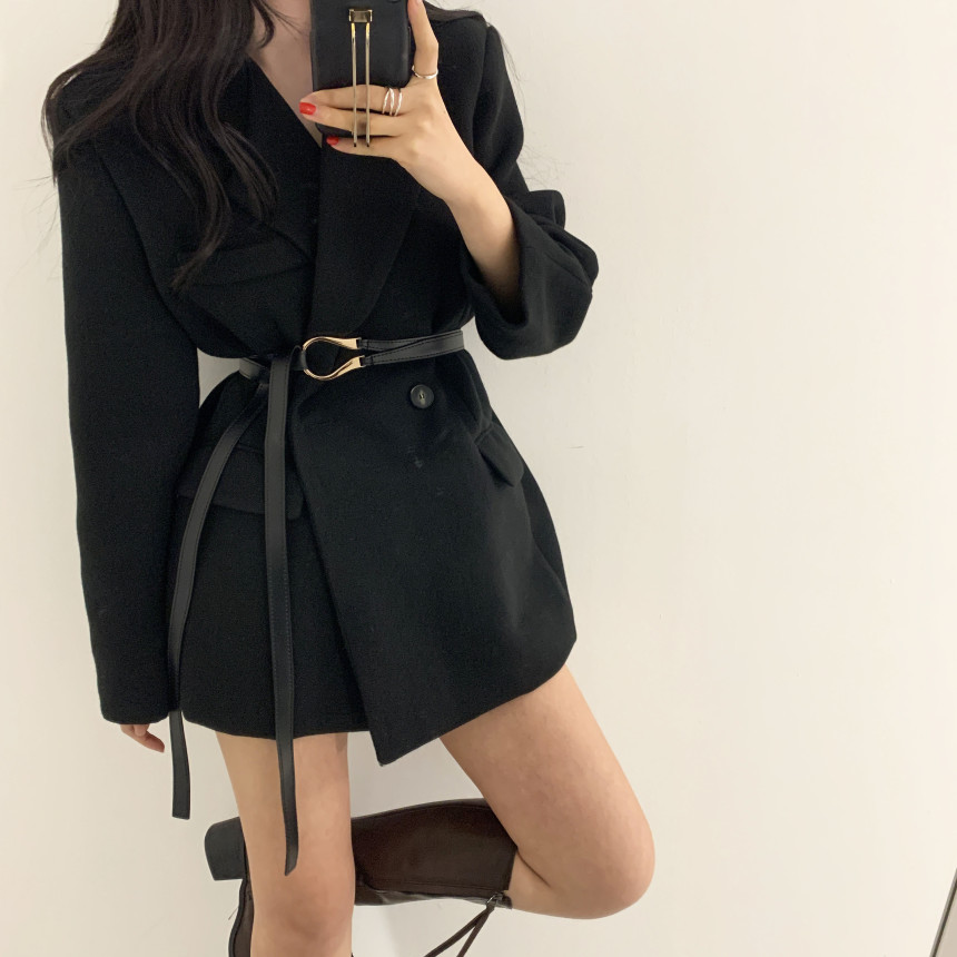 Winter women Blazer with belt Long Sleeve Office Ladies Suit Coat Jacket Women Spring Autumn blazers Female ka1137