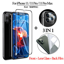 3-in-1 Tempered Glass for iPhone 11 ProMax Screen Protector Lens Glass Sticker on iPhone 11 Clear Back Film for i Phone 11 11Pro 3 in 1 cristal templado for iphone 11 screen protector sticker glass on iphone 11 pro max clear back film for i phone 11 11pro