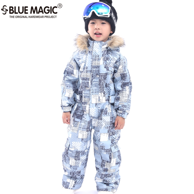 19 лыжных костюмов bluemagic для детей, водонепроницаемый комбинезон для прогулок на открытом воздухе для девочек и мальчиков, куртка для сноуборда Водонепроницаемый Лыжный комбинезон-30 градусов - Цвет: BOYS GREY