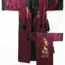 Robe Kimono Bath-Gown Silk Satin Two-Side One-Size Embroidery Dragon Burgundy Reversible