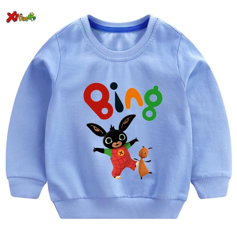 Boys Girls t shirt Sweatshirt 2020 Kids Bunny Cartoon Print Hoodies Children Spring Top Baby Boys Cotton Clothes Cotton Pullover
