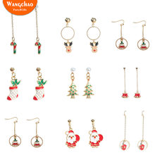 Santa Claus Creative Long Ear Studs Earrings Elk Crutches Socks Gloves Ear Ornaments Christmas Craft Decorations Party Supplies(China)