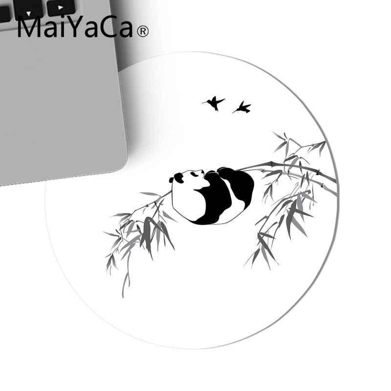 Maiyaca Panda Mencuci Lukisan Bambu Game Bulat Mouse Pad Komputer Tikar Gaming Mouse Pad Karpet untuk Laptop Notebook Gamer Meja pad
