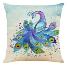 1PC Flower Pillowcase Polyester Pillow Case Painted Peacock Pattern Sofa Car Throw Cushion Cover Home Decor Hot Selling 2019(China)